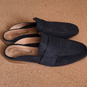 Free People Leather Snake Embossed Mules